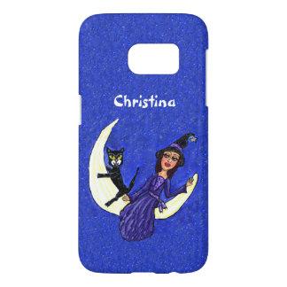 Hexe-lila Kleid mit der schwarzen Katze, die auf