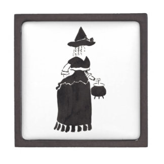 Hexe mit einem großen Kessel Schmuckkiste