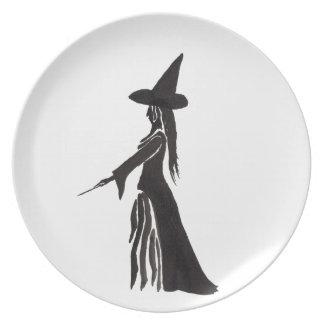 Hexe mit einem magischen Stab Melaminteller
