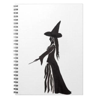 Hexe mit einem magischen Stab Notizblock