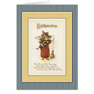 Hexe mit Katze und Besen Karte