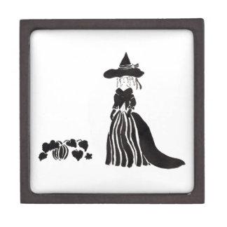 Hexe mit Kürbisen Kiste