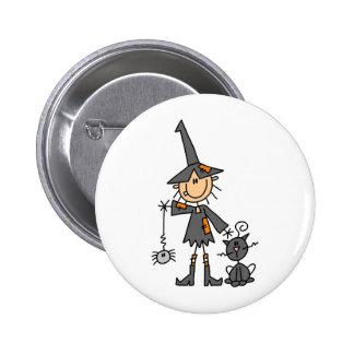 Hexe mit schwarzer Katze Runder Button 5,1 Cm