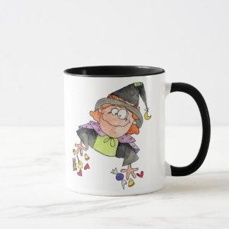 Hexe mit Süßigkeit Tasse