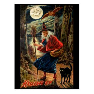 Hexe nachts Halloween Postkarte