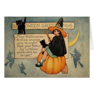 Hexe-schwarze Katzen-Kürbis-Halbmond-Mond Karte