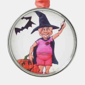 Hexe-Schwein Silbernes Ornament