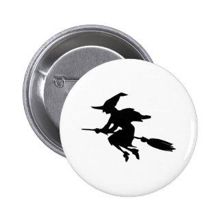 Hexe-Silhouette Runder Button 5,1 Cm