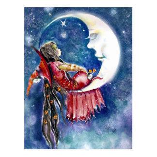 Hexe-u. Mond-Postkarte Postkarte