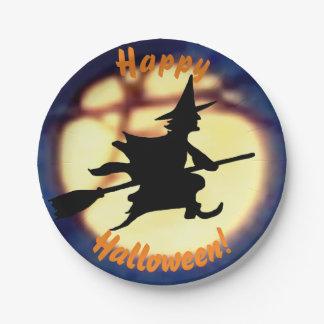 Hexe über Mond-HalloweenpapierTeller Pappteller