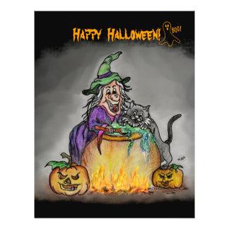 Hexe und Katze, glückliches Halloween! Flyer