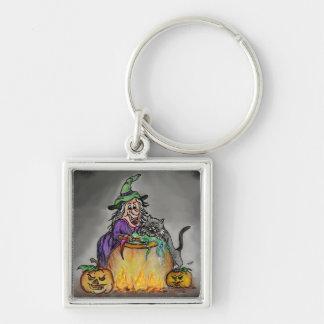 Hexe und Katze, glückliches Halloween! Schlüsselanhänger