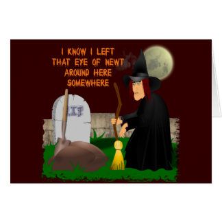 Hexe-und Newt-Halloween-Gruß-Karte Karte