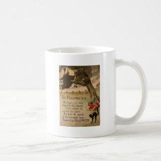 Hexe-Vollmond-Kürbis-schwarze Katze Kaffeetasse