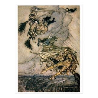 Hexen reiten Vintage Postkarte