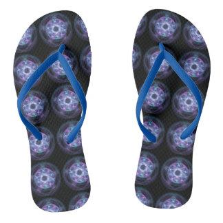 Hexerei-blaues Feuerpentagram-Muster Flip Flops