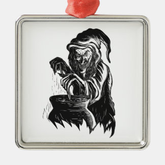 Hexestirring-Gebräu-Topf Scratchboard Silbernes Ornament