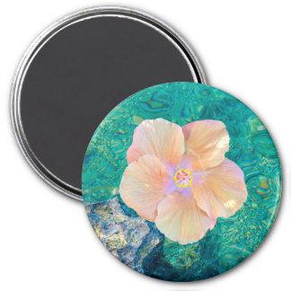 Hibiskus auf Türkiswassermagneten Runder Magnet 7,6 Cm