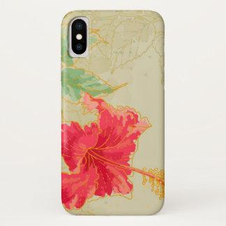 Hibiskus-Blume auf getontem Hintergrund iPhone X Hülle