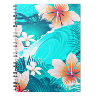 Hibiskus-Blumen am Strand Spiral Notizblock