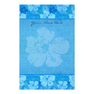 Hibiskus-Blumen-blaues Batik-Gewebe Briefpapier