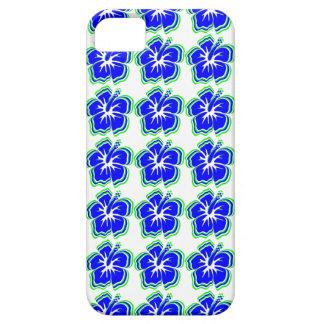 Hibiskus-Blumen: Hellgrünes, Himmel-Blau u. Weiß iPhone 5 Etui