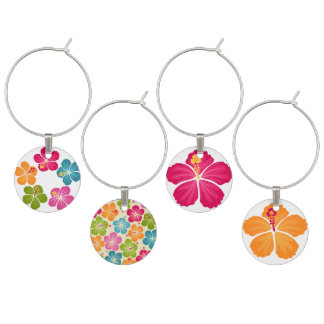 Hibiskus-Blumen-Illustrationen Glasmarker