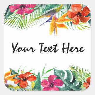 Hibiskus-Blumen-tropisches Paradies-hawaiisches Quadratischer Aufkleber