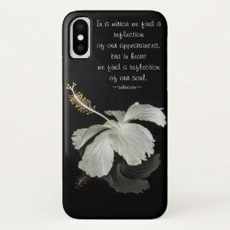 Hibiskus-Reflexion mit Inspirational Zitat iPhone X Hülle
