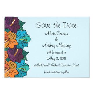 Hibiskus Save the Date Mitteilung-blau Einladungen
