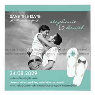 Hibiskus-Strand-Hochzeit drehen Reinfälle Save the Quadratische 13,3 Cm Einladungskarte