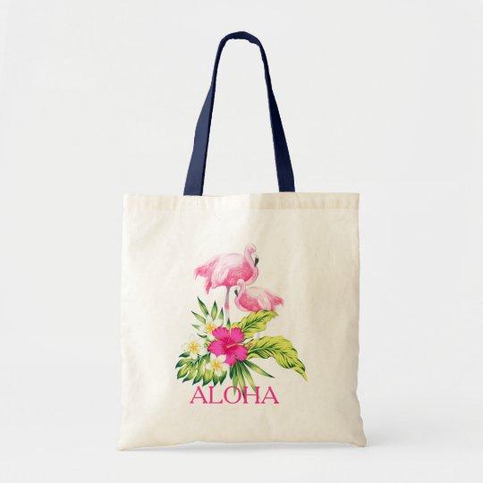 Hibiskus-u. rosa Flamingo-tropischer Entwurf Budget Stoffbeutel