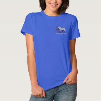 Hibiskus-Wolljacken-WaliserCorgi Besticktes T-Shirt