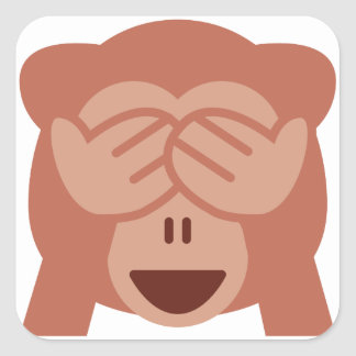 Hide and seek Emoji Monkey Quadratischer Aufkleber