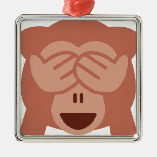 Hide and seek Emoji Monkey Silbernes Ornament