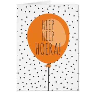 Hiep Hiep Hoera orange Ballon-niederländische Karte