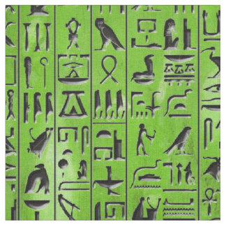 Hieroglyphen im Smaragd Stoff