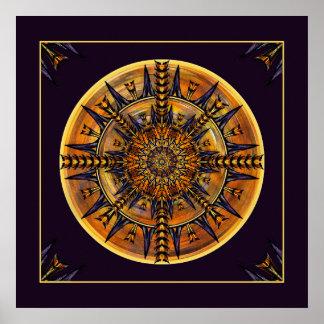 Hieroglyphen-Motten-Mandala-Kunst-Druck Poster