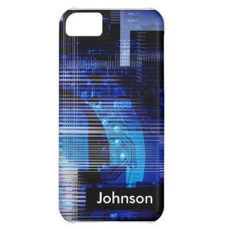 High-Techer Entwurf des blauen Schwarzen kundenspe iPhone 5C Hüllen