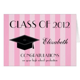 Highschool Abschluss-Gruß-Karte -- Rosa Karte