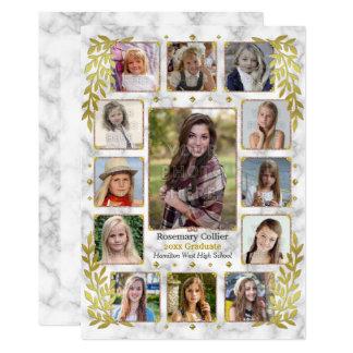 Highschool Abschluss-Party-Marmor-Foto-Collage 12,7 X 17,8 Cm Einladungskarte