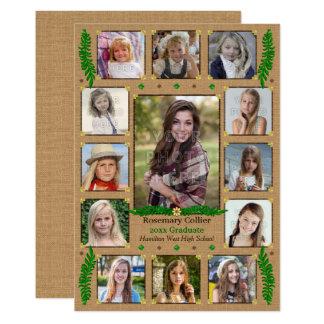 Highschool Abschluss-Party-rustikale Foto-Collage 12,7 X 17,8 Cm Einladungskarte