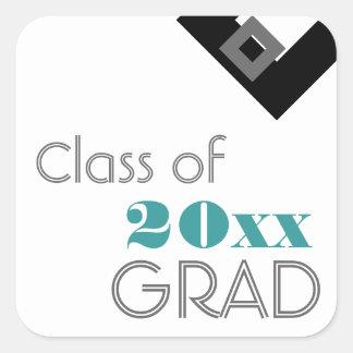 Highschool oder Uni-Abschluss-Geschenk-Umbau-Blau Quadratischer Aufkleber