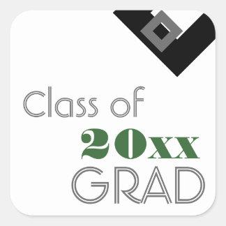 Highschool oder Uni-Abschluss-Geschenk-Umbau-Grün Quadratischer Aufkleber