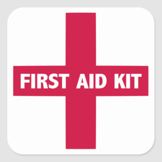 Hilfe-Ausrüstungs-Zeichen Quadratischer Aufkleber