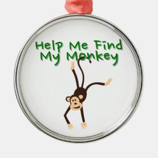 Hilfe meinen Affen finden Silbernes Ornament