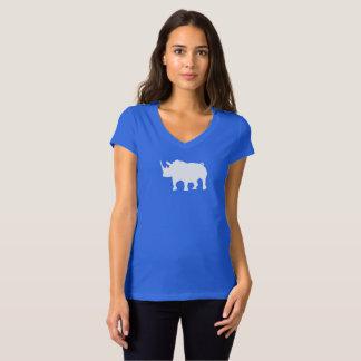 Hilfe retten den Rhinos das Shirt der Frau