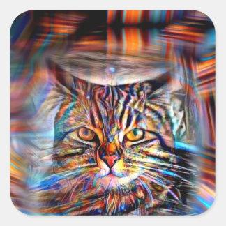 Hilflos Farbin der abstrakten Revolutions-Katze Quadratischer Aufkleber