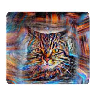 Hilflos Farbin der abstrakten Revolutions-Katze Schneidebrett