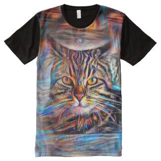 Hilflos Farbin der abstrakten Revolutions-Katze T-Shirt Mit Komplett Bedruckbarer Vorderseite